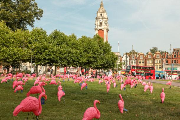Plastic flamingos in Windrush Square