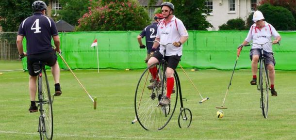 Polo on Penny Farthing bikes at Herne Hill Velodrome