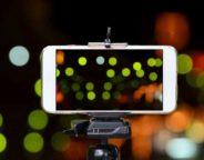 Smartphone on tripod