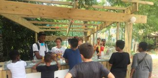 The playground's open air kitchen