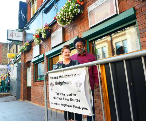 Louise and Tony outside their 414 Club on Coldharbour Lane