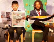 Hill Mead pupils use the Brixton Bugle in a drama production