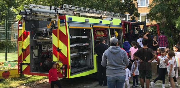 Fire Engine visits re-opened Grove playground