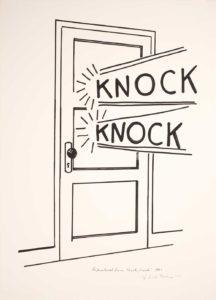 Knock Knock cartoon of door