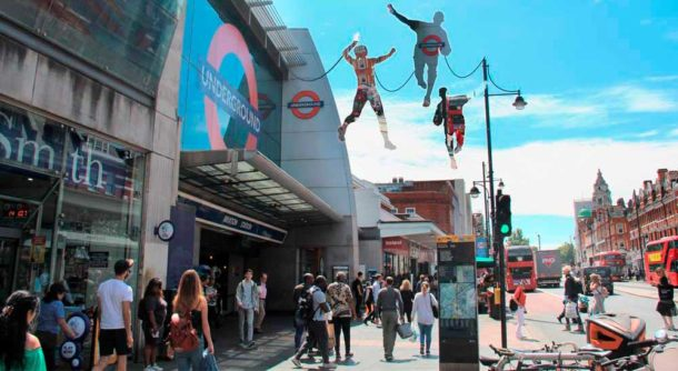 Reflections a CGI image of Brixton Design Trail installation's outside Brixton Tube