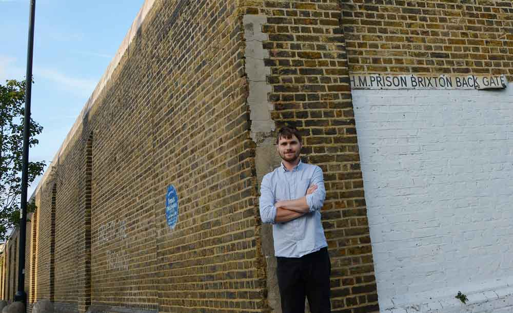 Fergus O'Farrell and the plaque by the back gate of Brixton Prison