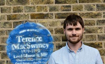 Fergus O'Farrell and the Brixton Prison plaque