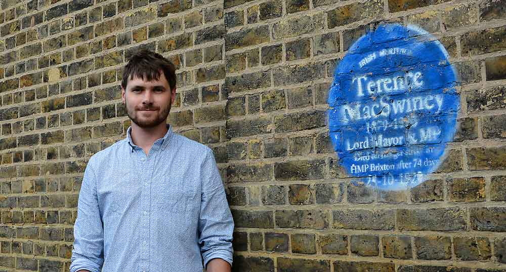 Fergus O'Farrell and the Brixton Prison plaque