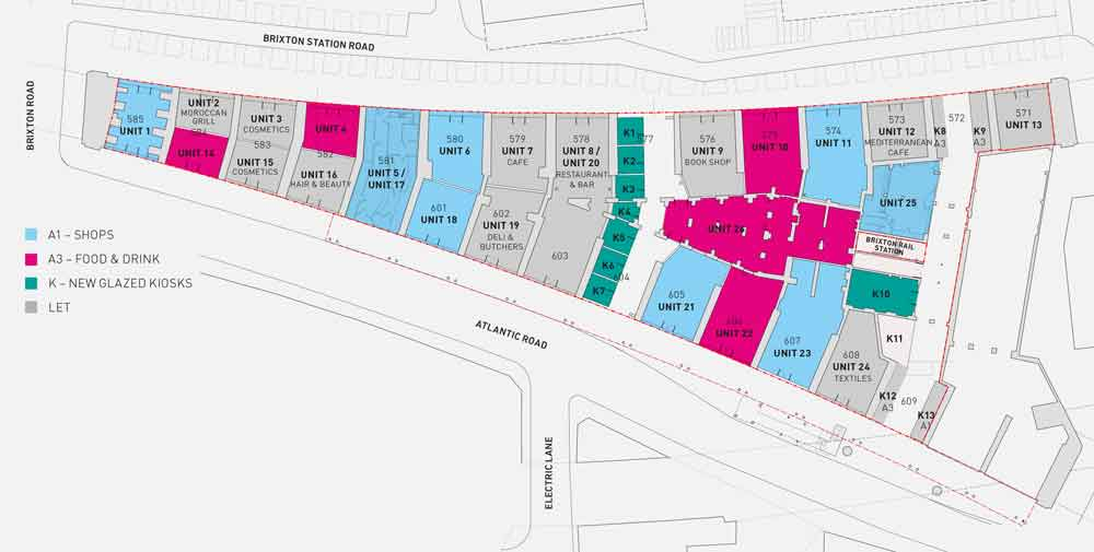 Plan of the arches for rent and with returning tenants. Click for larger version