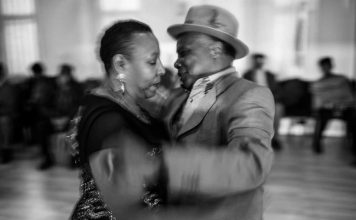 Photo of a Windrush Generation couple dancing