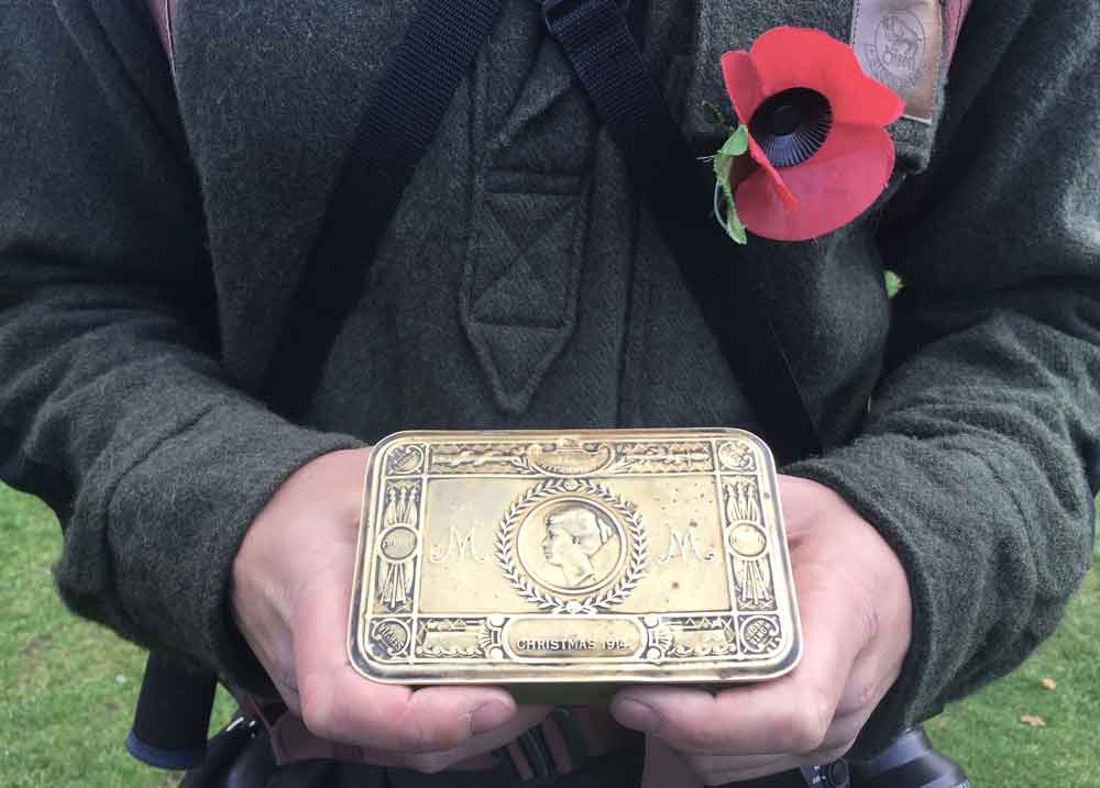 The presentation box, dated 1914, in which William Parsons brought the spoil from the Somme