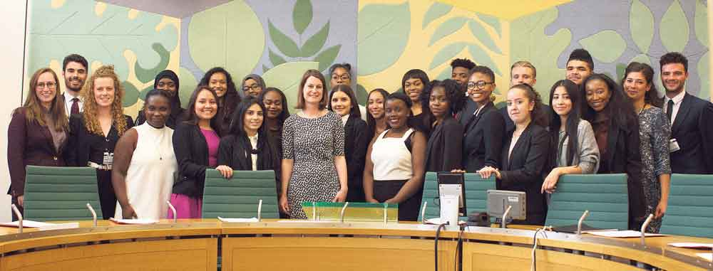 Local MP Helen Hayes with students from the Advocacy Academy – a recent beneficiary of the Thrale Charity
