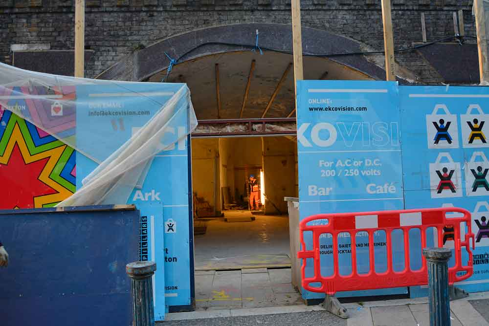 Work is continuing on the bare interiors of arches