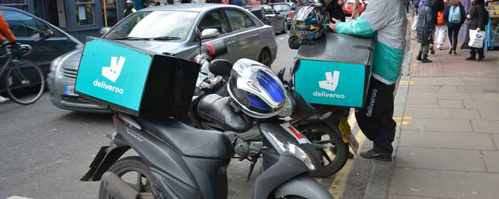 Deliveroo drivers on Atlantic Road