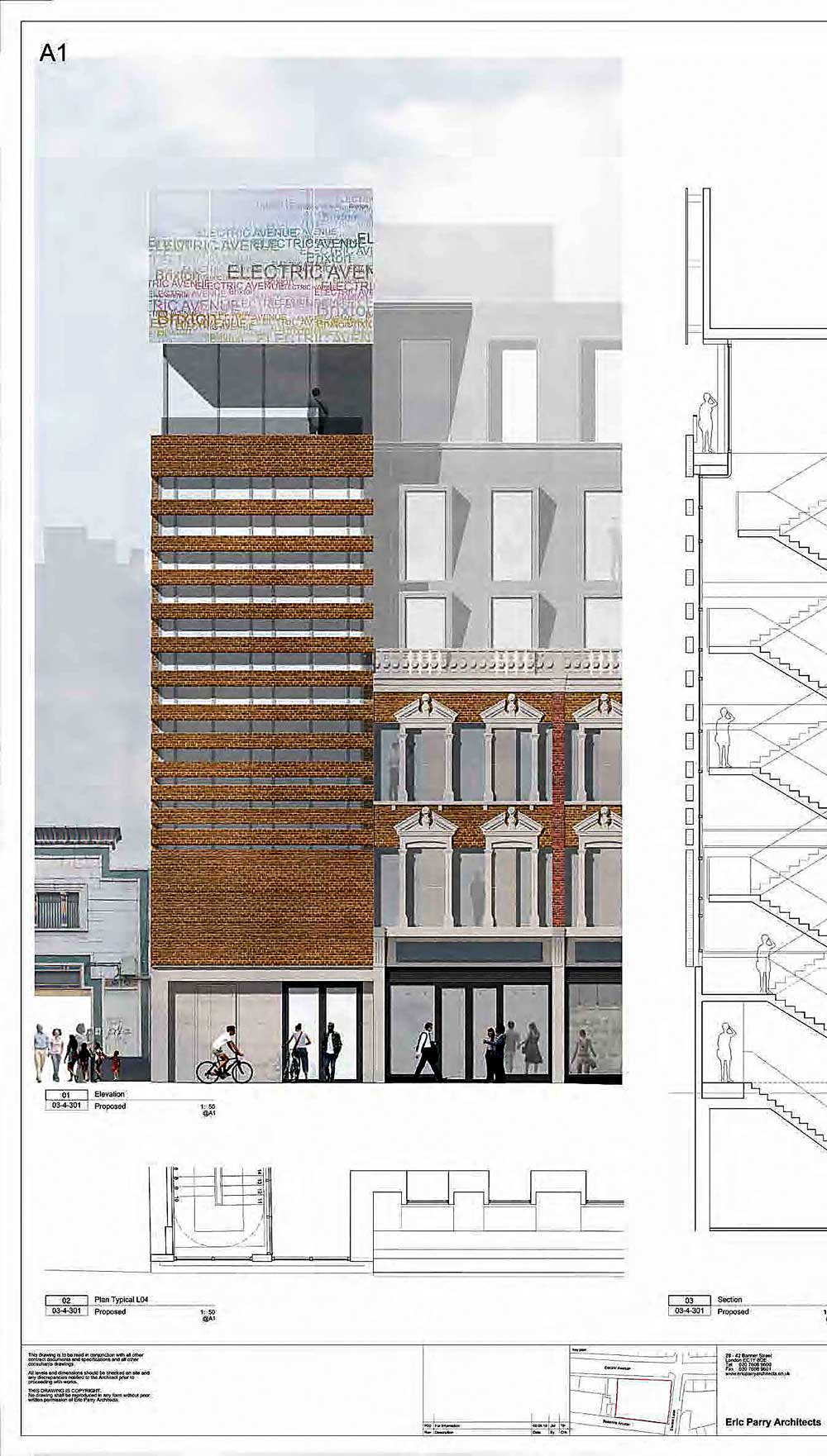Architect drawing of proposed building for corner of Electric Avenue