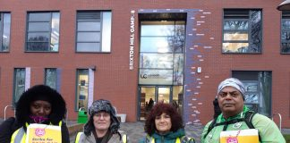 Tracey Young (second from left) picketing with colleagues outside Brixton Hill campus on Thursday.