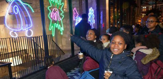 Hill Mead primary pupils outside he Department Store