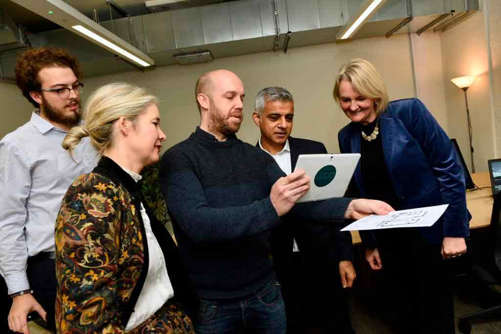 Neil Small of Lucid Environments displays interactive images to Sadiq Khan with (from left) Liam Dickinson of Lucid, London deputy mayor Justine Simons and Lambeth council Leader Lib Peck.