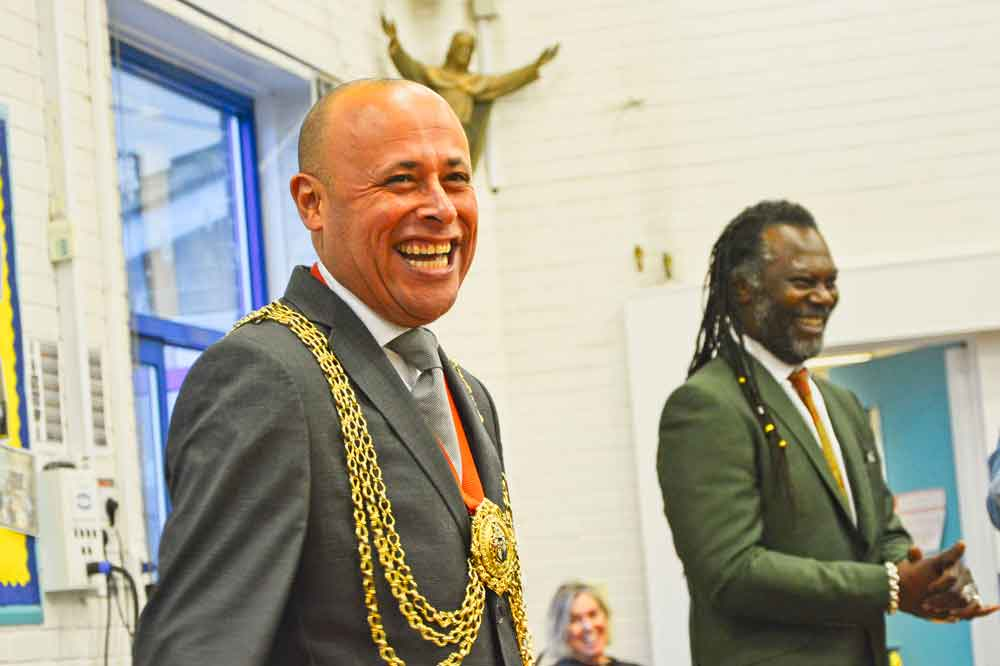 Mayor Christopher Wellbelove and Levi Roots at the assembly