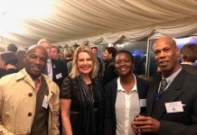 From left: Tony Goldring, Mims Davies, Keishana Kelly and Steadman Scott on the terrace of the Palace of Westminster