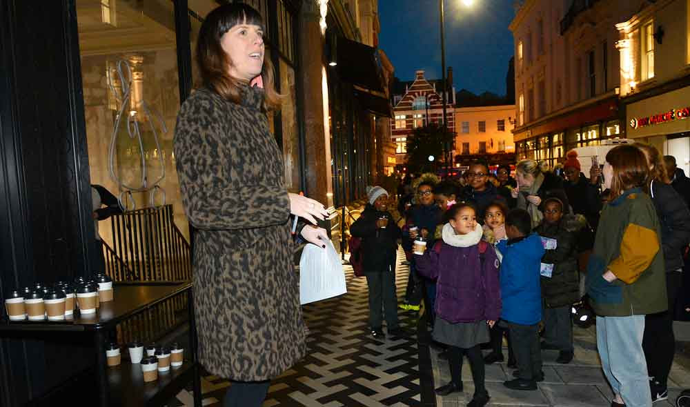 Squires' Julia Nicholls counts down the switch-on of the displays