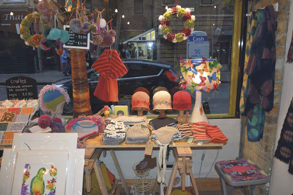 Diverse window display showcasing makers