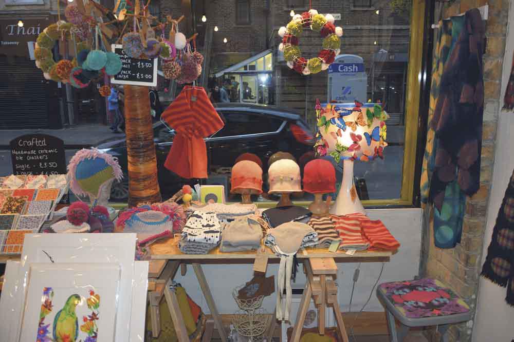 Diverse window display showcasing makers