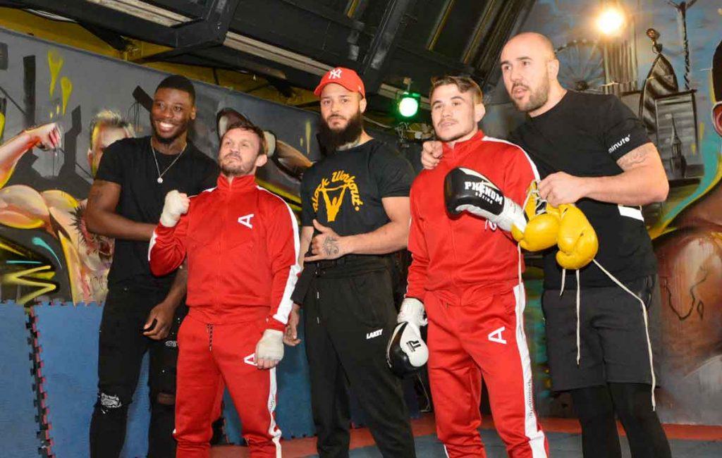At the Brixton Street Gym (l-r) Isaac Chamberlain, Brad Picket, Terroll Lewis, Nathaniel Wood and Angel Fernandez