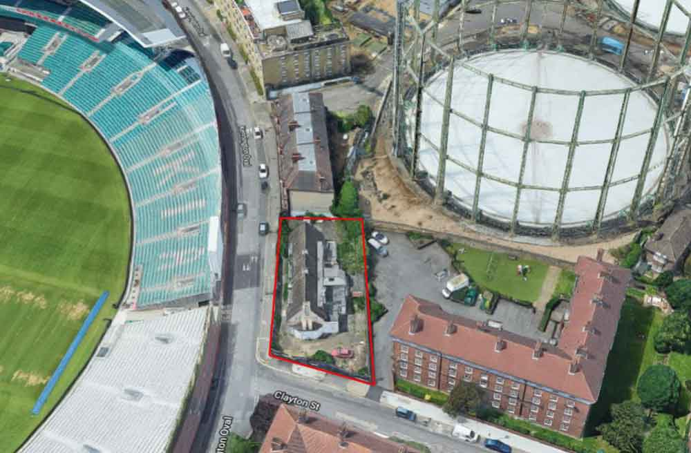 Aerial view of the site with the existing Cricketers outlined in red