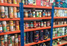 Food on foodbank shelves