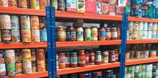 Food on foodbank shelves