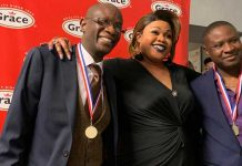 Brixton Immortals Dominoes club chair Mark Douglas, team captain Nadine Lovelace and Donald Douglas