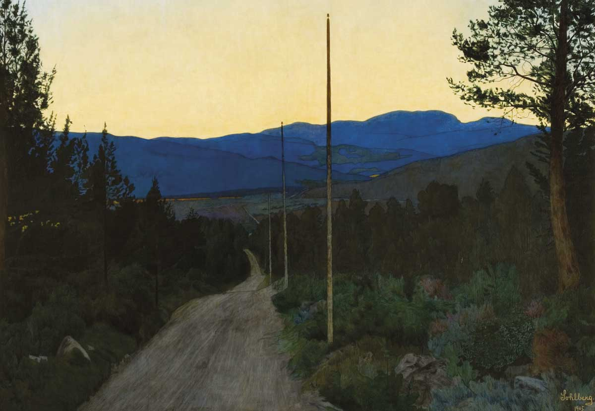 Painting by Harald Sohlberg: The country road