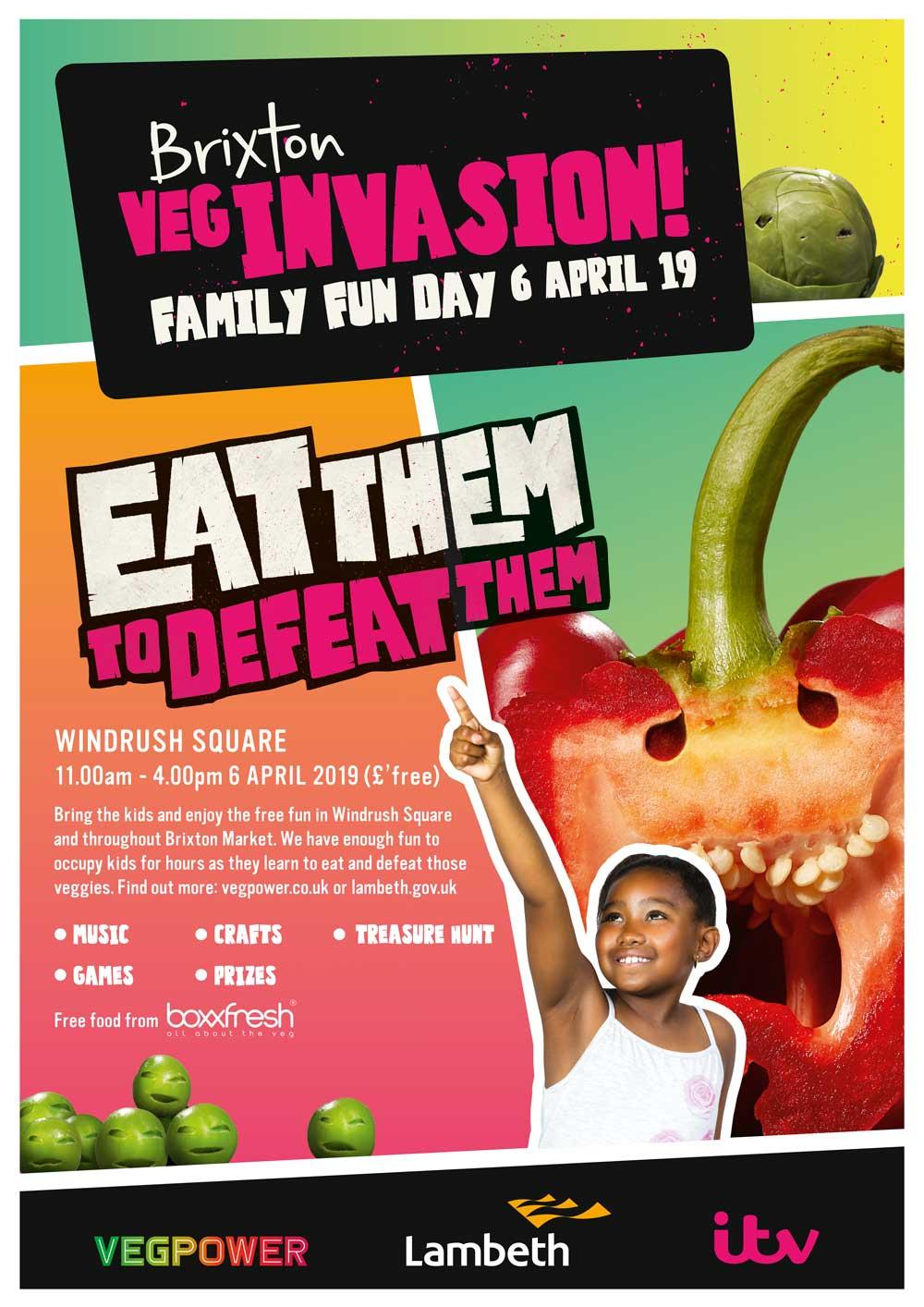 Poster for Veg Invasion family fun day 6 April Windrush Square