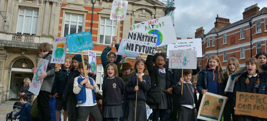 Kids' climate rally in Windrush Square