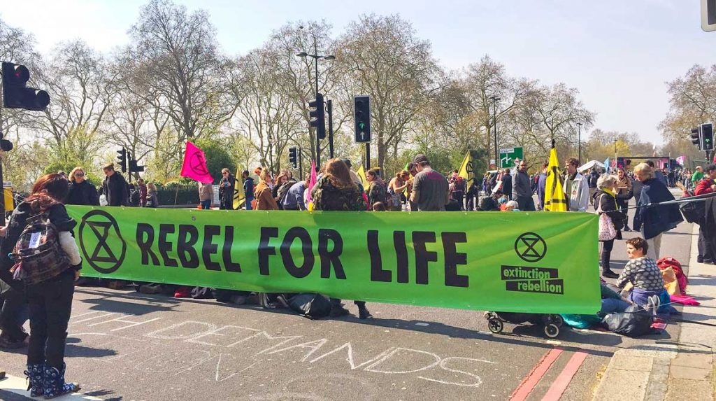 Extinction Rebellion Lambeth members at Marble Arch