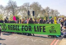 Extinction Rebellion protest at Marble Arch