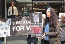 Anti-fur protesters outside the Flannels shop in Brixton