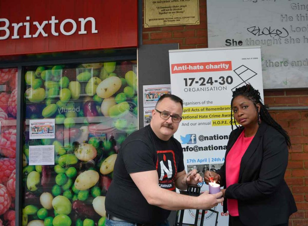 Mark Healey of HCAW and Cheryl Lewis, hate crime project worker for the Lambeth Disability Hate Crime Project