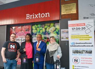 Mark Healey of HCAW; Chery Lewis; Donatus Anyanwu; and Louise Holden, London disability hate crime project manager for Inclusion London, an organisation that supports more than 70 deaf and disabled organisations in every London borough