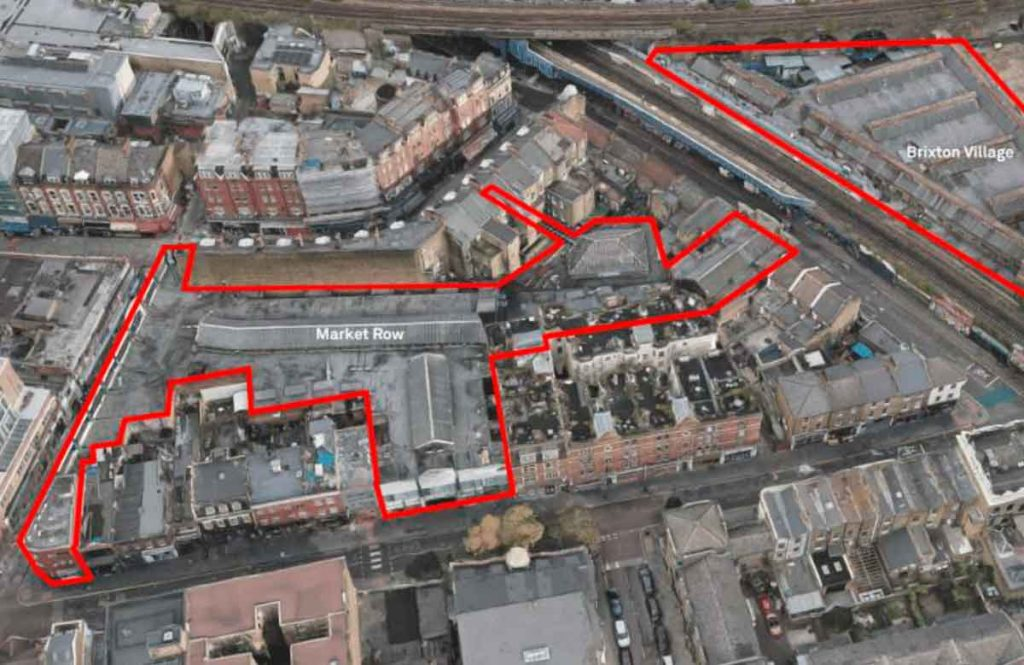 aerial view of Brixton covered markets