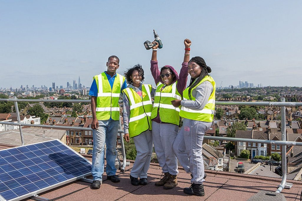 Repowering London apprentices who worked to instal the Elmore House solar scheme in Brixton