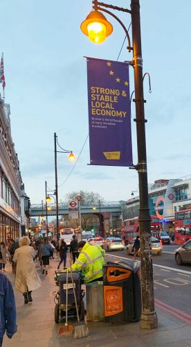Banner saying strong and stable local economy