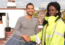 Habiba Usman, a 17-year-old resident of the Loughborough Estate and a graduate of the Brixton Energy Solar training programme, with Agamemnon Otero