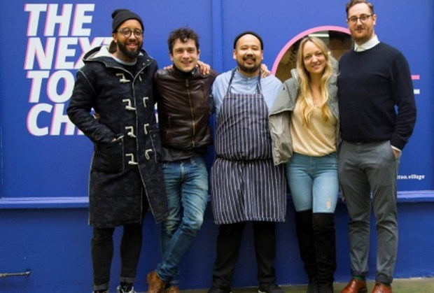 (left to right): James Cochran, Jackson Boxer, Ferdinand 'Budgie' Montoya, Claire Ptak, and Alistair Maddox in Brixton Village for the final of Brixton Kitchen.