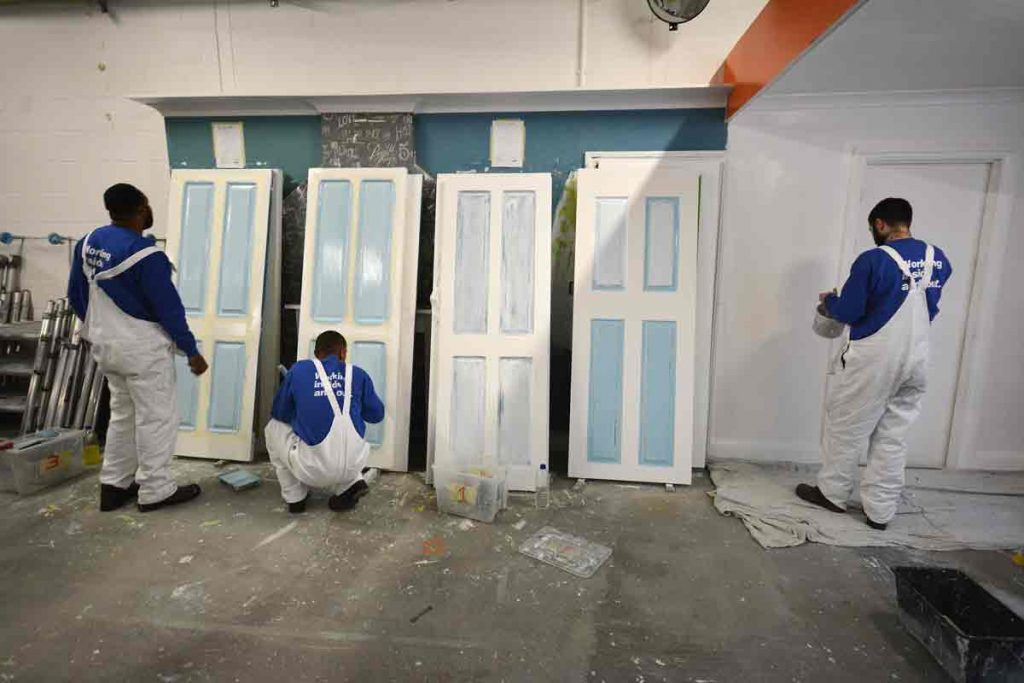 Inmates receive training including painting and decorating and scaffolding