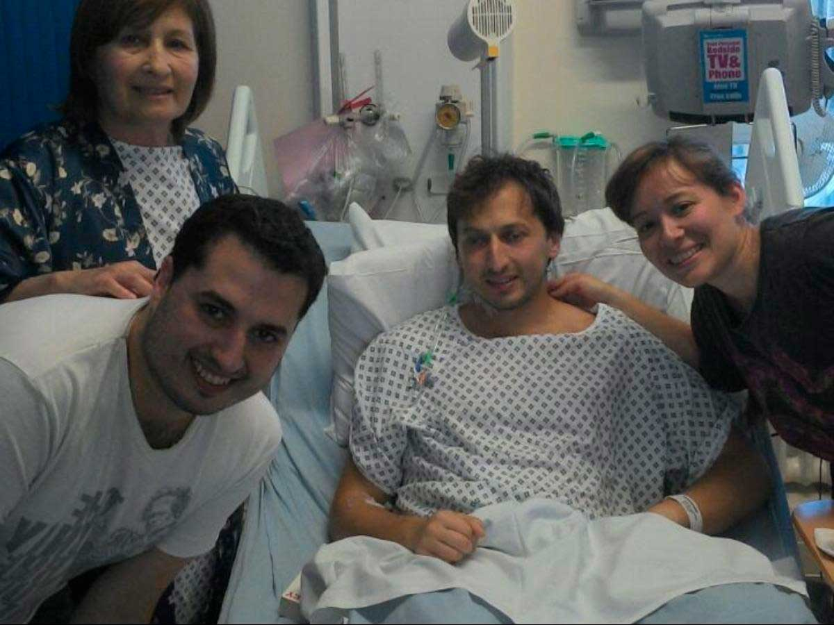 Martin after his kidney transplant surrounded by family