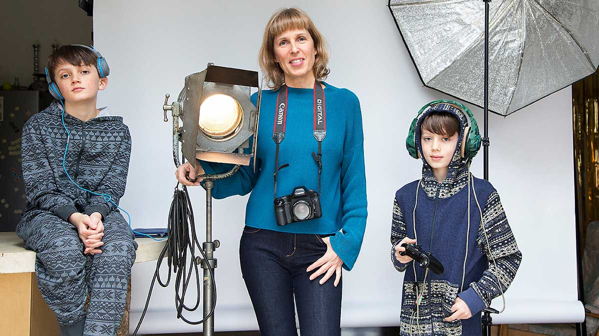 Photographer Fiona Freund with sons