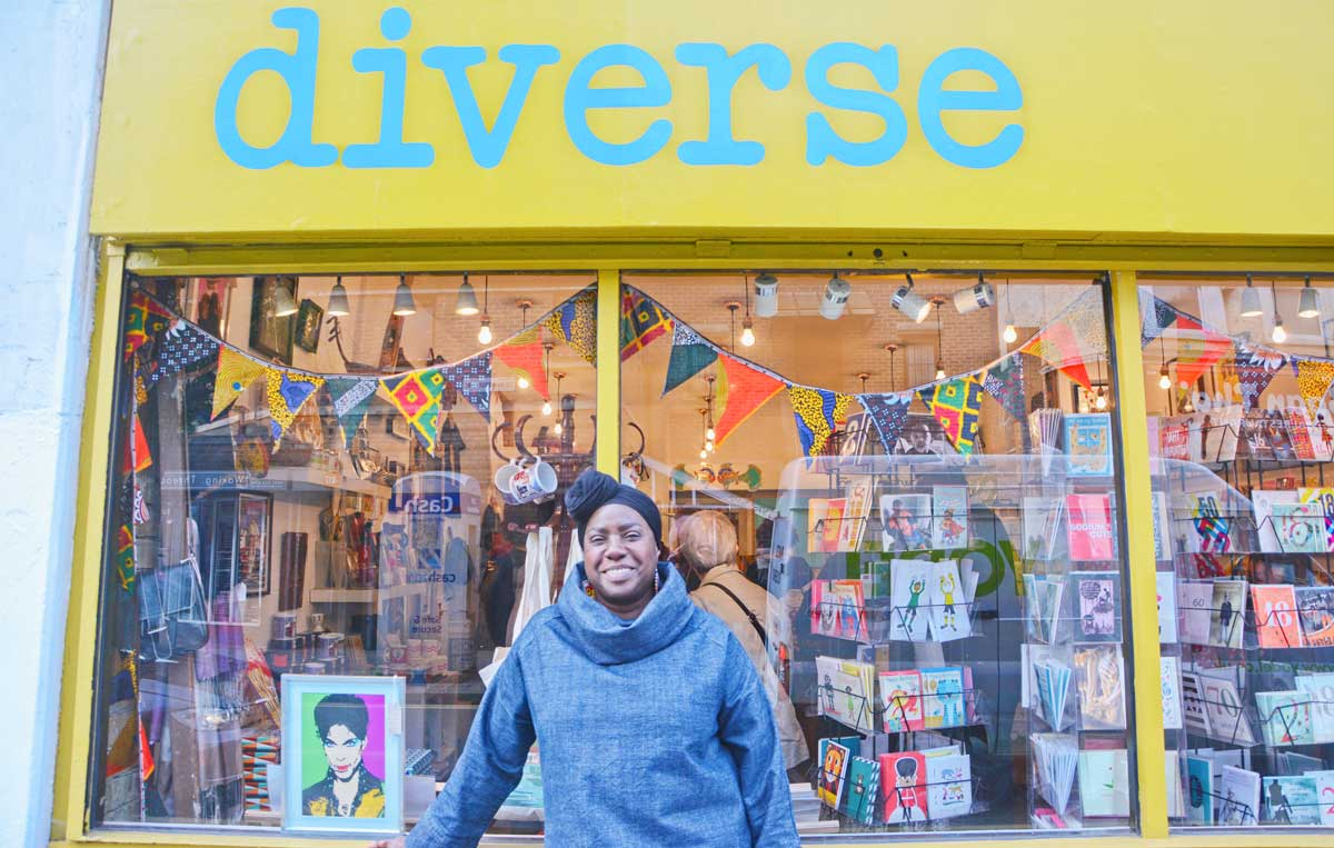 Diverse owner Anita Thorpe outside her shop