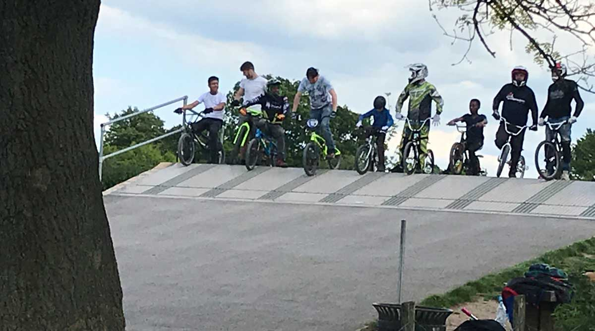 BMX bikers in Rockwell Park